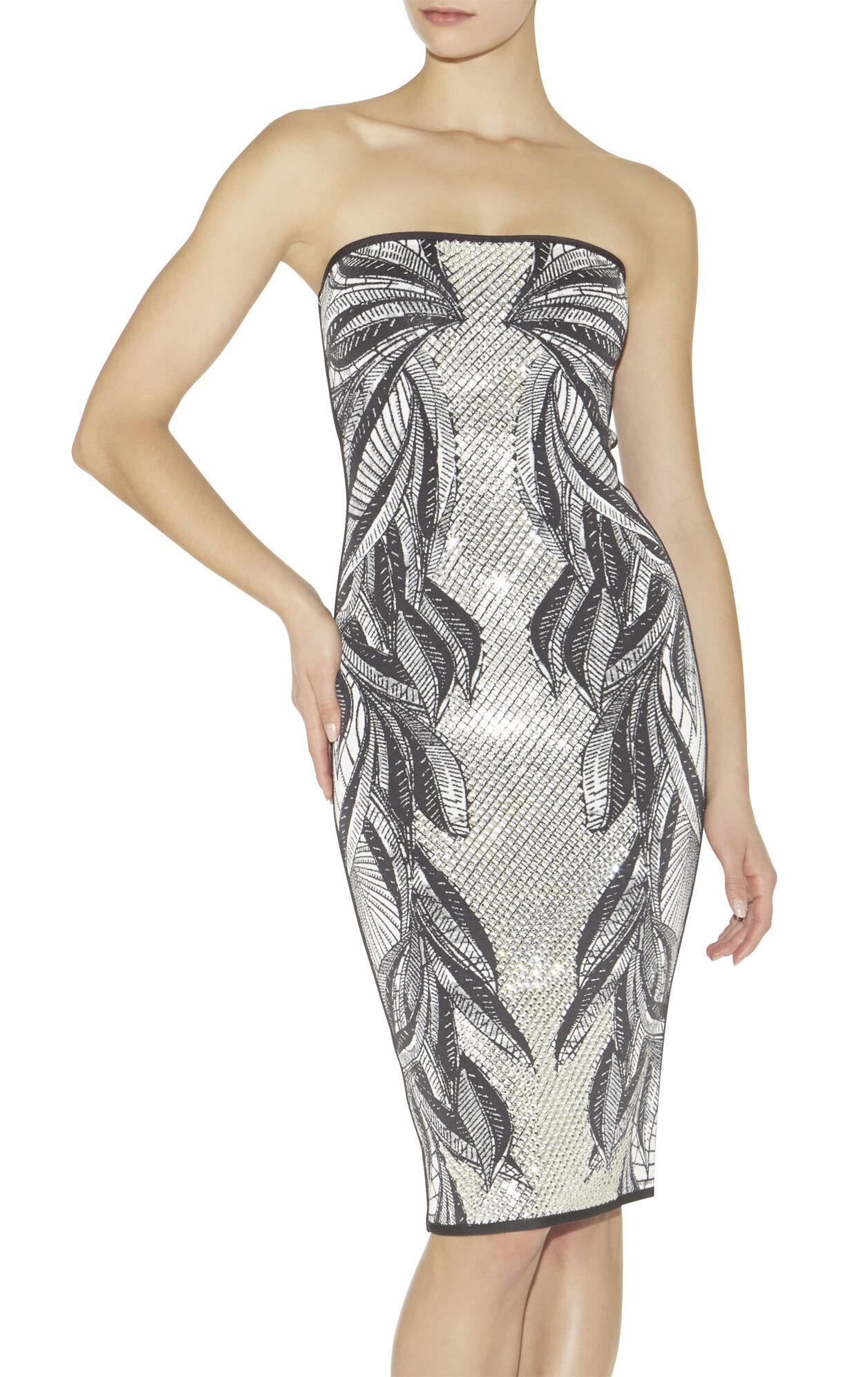 Enika Batik-Leaf Jacquard Dress