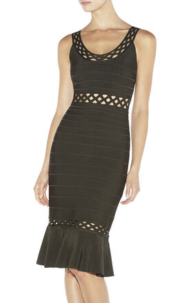 Nora Geometric-Eyelet Bandage Dress