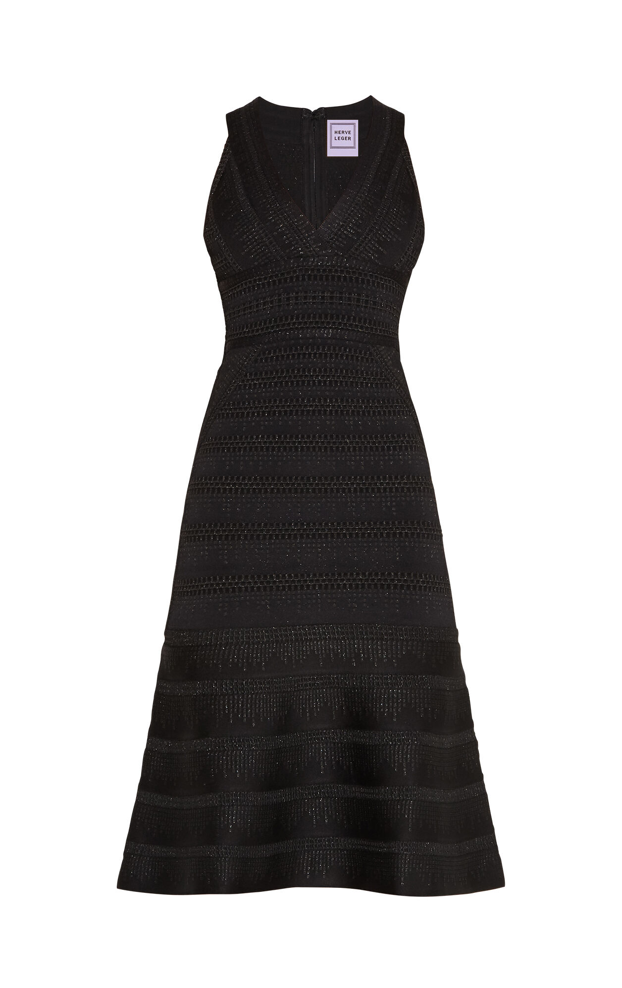 Theron Metallic Crochet Flute Dress
