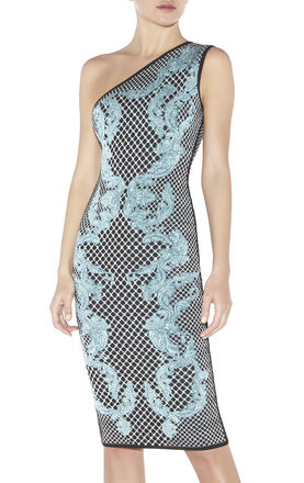 Victoria HL Monogram Crescent Jacquard Dress
