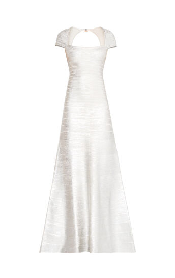Alaina Woodgrain Foil Print Gown
