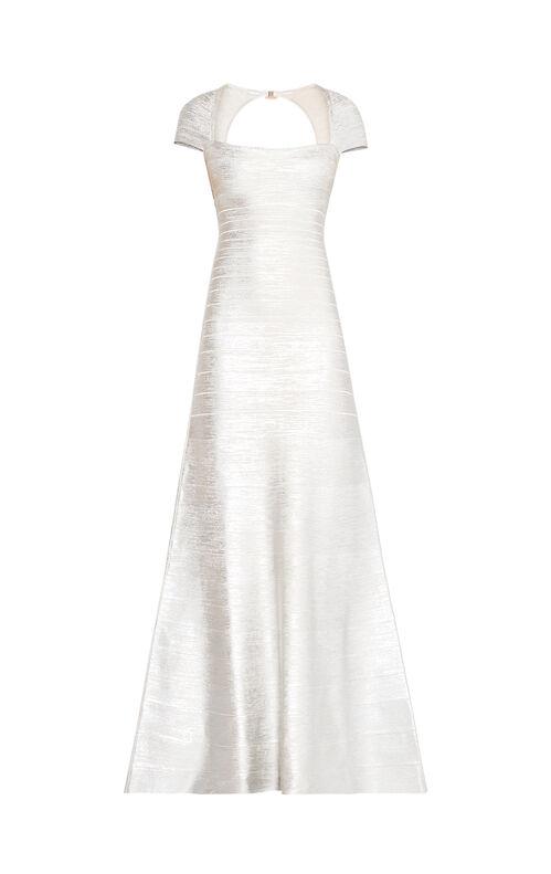 Alaina Woodgrain Foil Print Gown