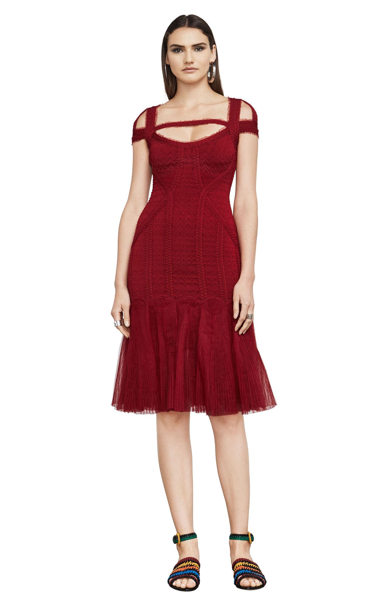Lexi Zigzag Tulle Cutout Body-Con Dress