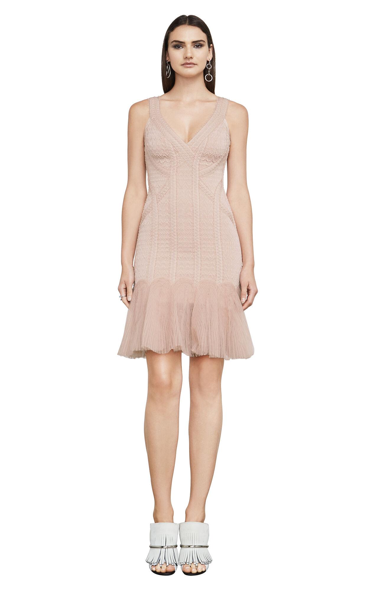 Natia Zigzag Tulle Off-Shoulder Body-Con Dress