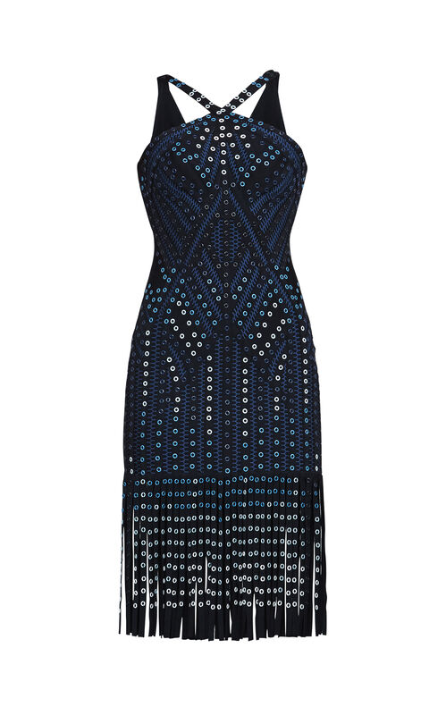 Adina Ombre Grommet Body-Con Fringe Dress
