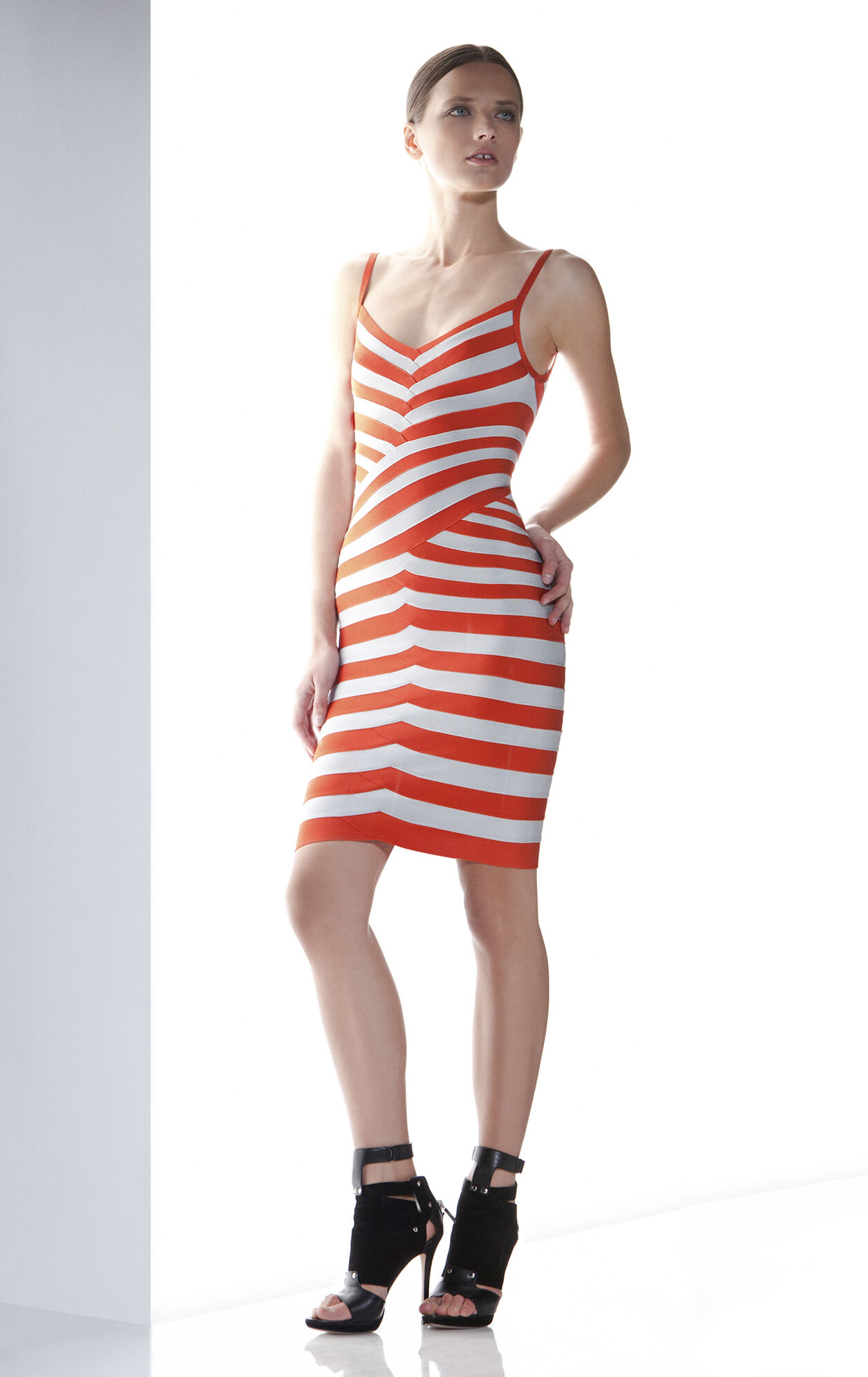 ANDREEA STRIPED BANDAGE DRESS