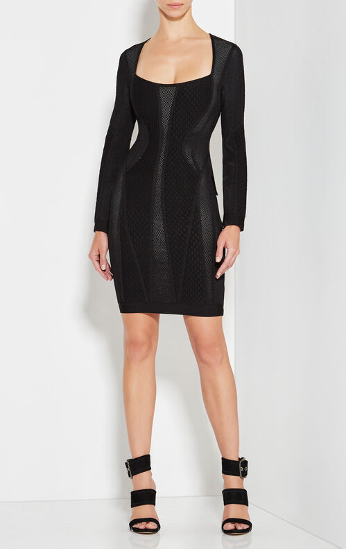 Valeria Multi-Texture Mesh Dress