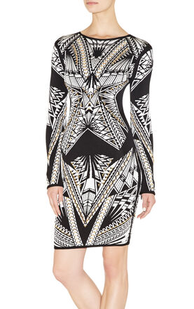 Elaine Tattoo-Jacquard Dress