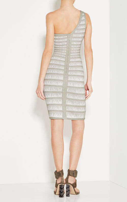 Brittny Metallic Crochet One-Shoulder Dress