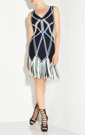 Charoletta Basket Weave Fringe Jacquard Dress