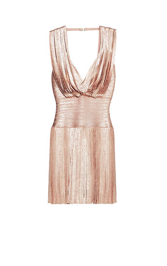 Naomi Foil Draped Bandage Dress