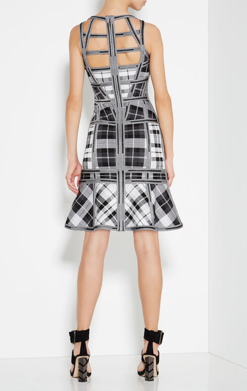 Jenissa Plaid-Blocked Caging Detail Dress