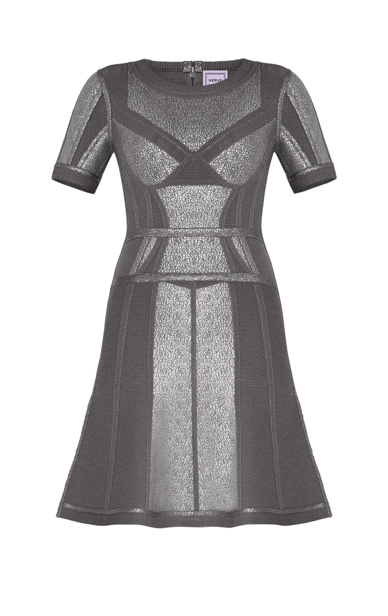 Mcckenne Crackled Metallic Foil Flare Dress