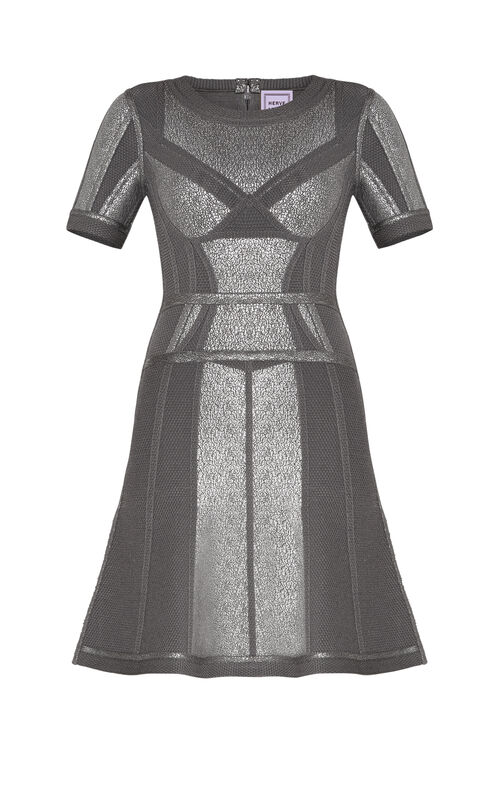 Mcckenne Crackled Metallic Foil Flare Dress
