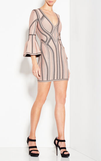 Ariela Caged Jacquard Dress