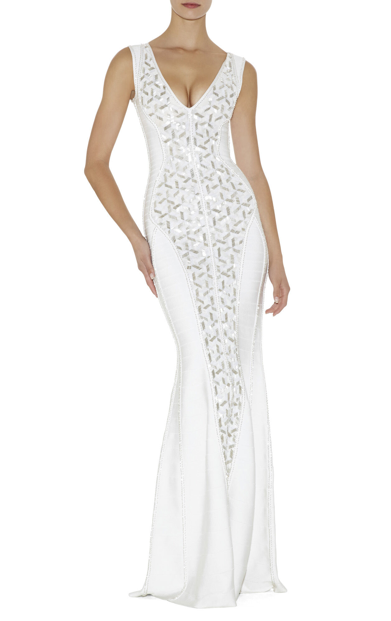 Evangeline Geometric Beaded Dress