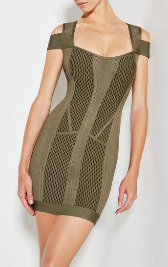 Evanne Multi-Texture Mesh Dress
