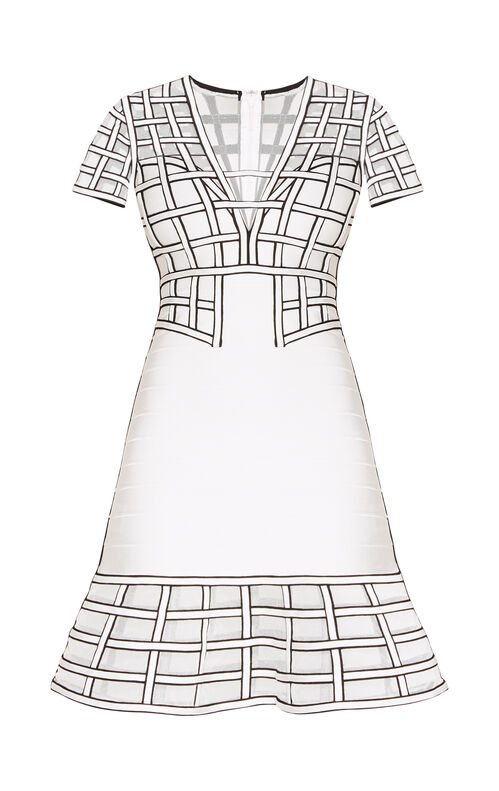 Tamera Caged Bandage Flute Dress