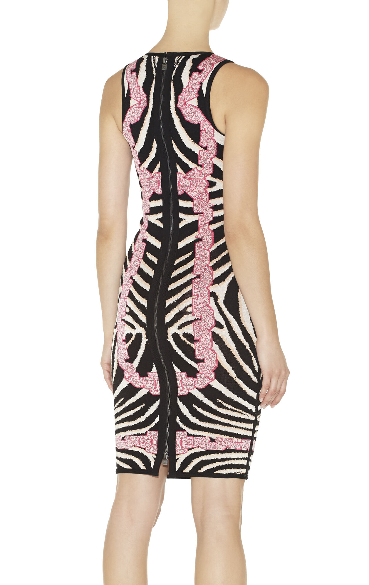 Behati Chain Detail Zebra Jacquard Dress