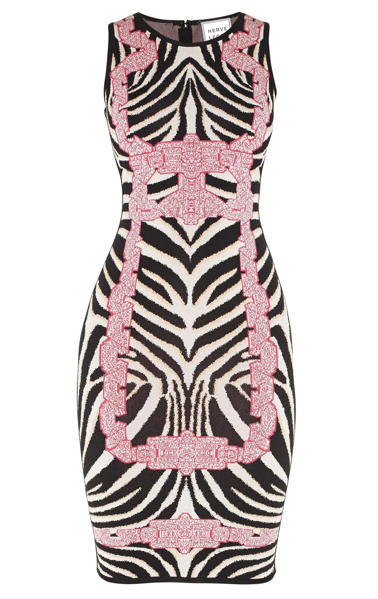 Behati Chain Detail Zebra Jacquard Dress