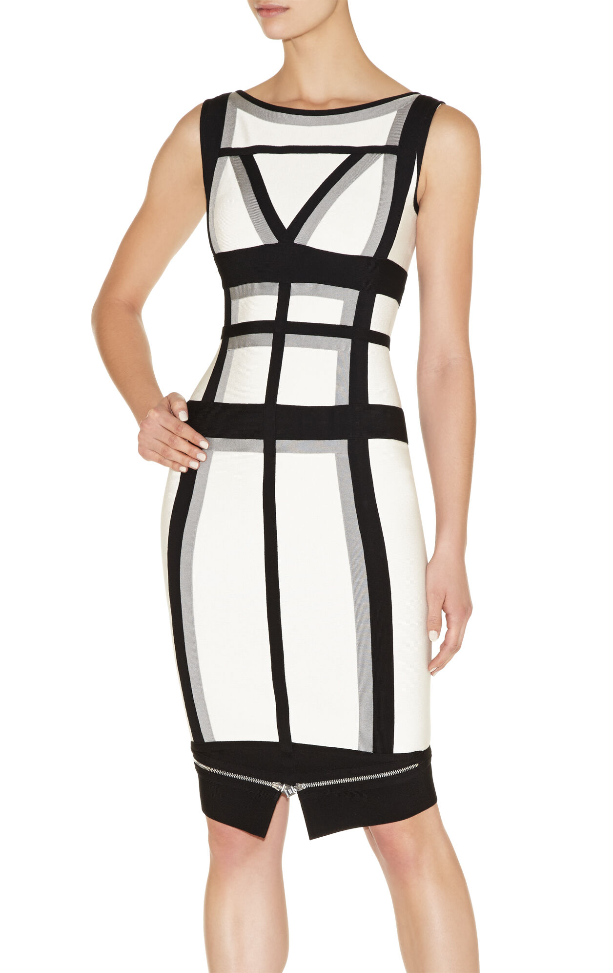 Andreja Colorblocked Zipper-Detailed Peplum Dress