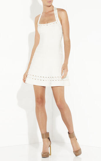 Rayna Scallop Embroidered Halter Dress