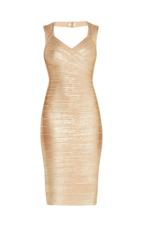 Sarai Woodgrain Foil Print Dress