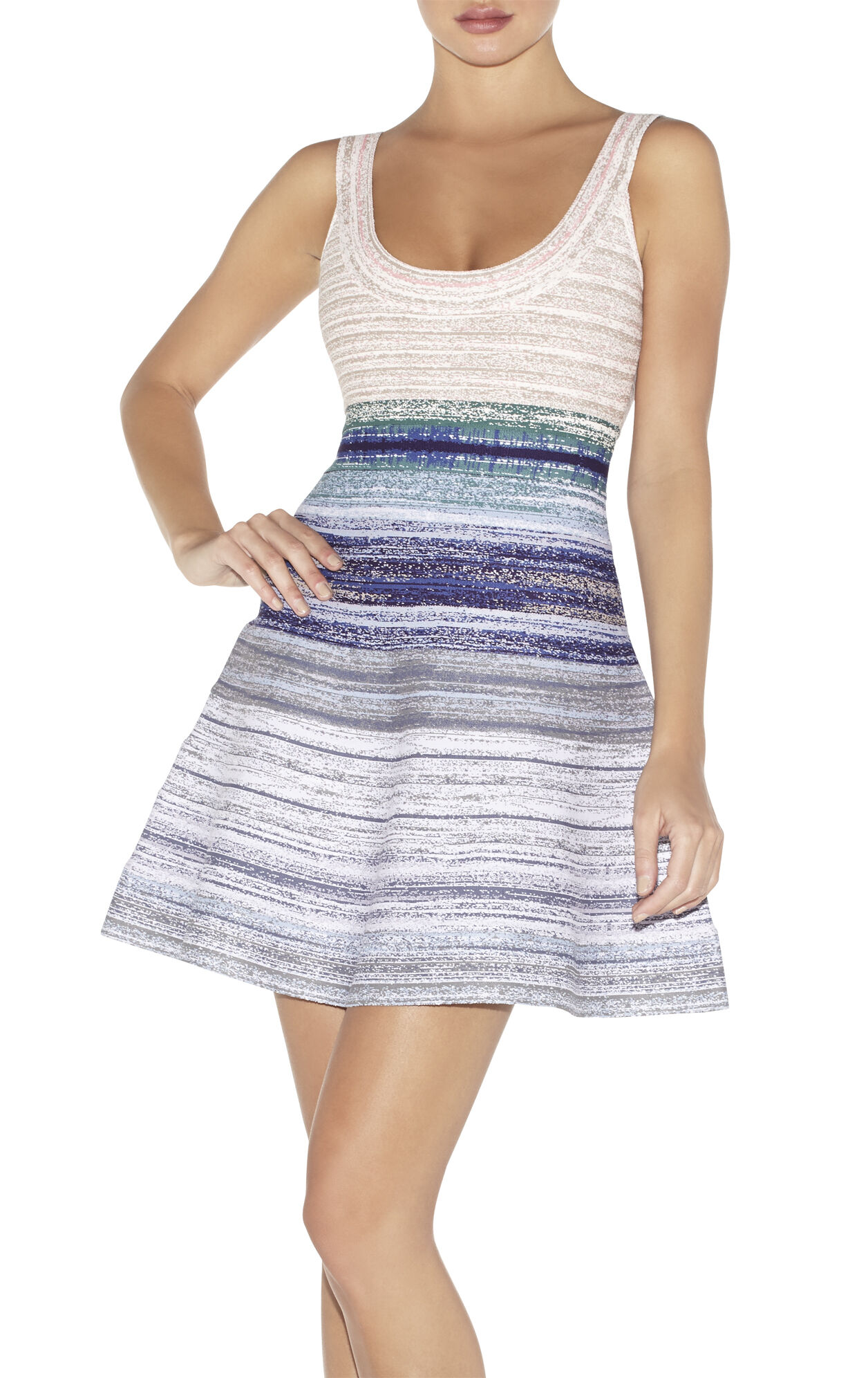 Eva Watercolor Jacquard Ombre Dress