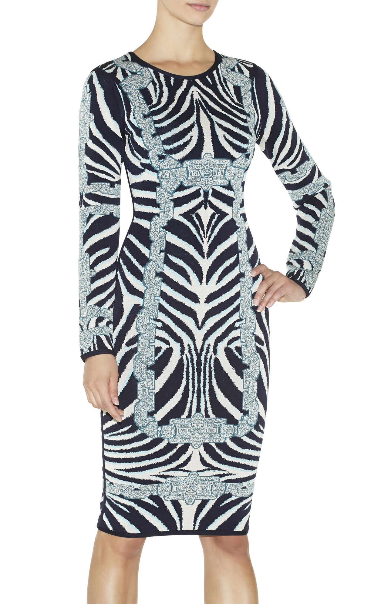 Aleksandra Chain Detail Zebra Jacquard Dress