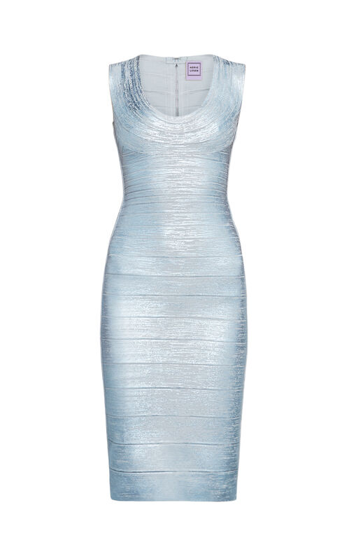 Maira Woodgrain Foil-Print Bandage Dress
