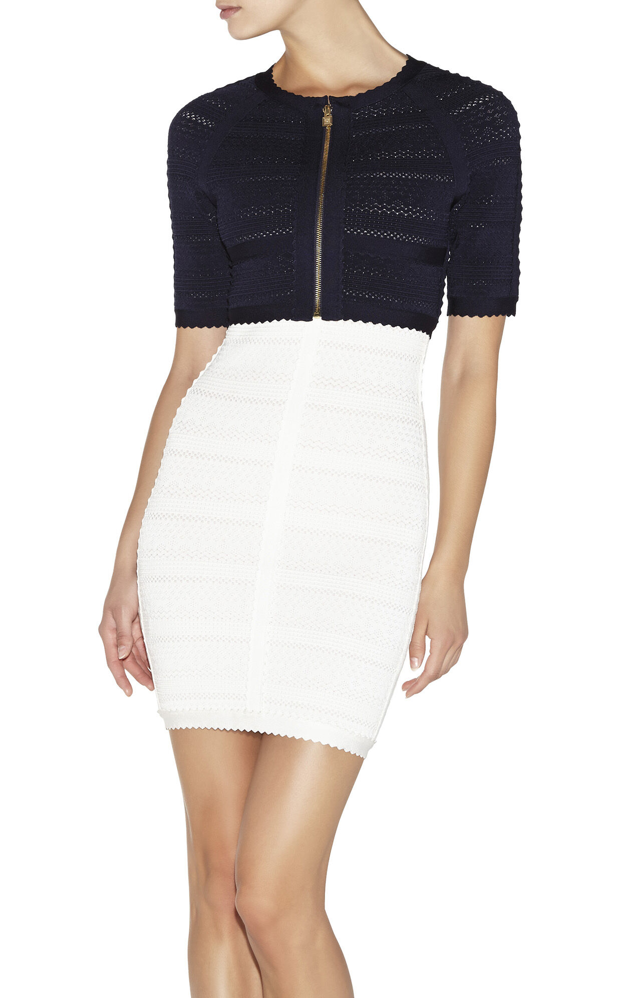Courtney Lace-Stitched Scalloped-Trim Top