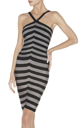 ZINDZI STRIPED BANDAGE DRESS