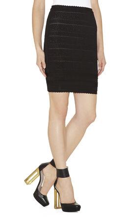 Vera Lace-Stitched Scalloped-Trim Skirt