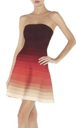 Lake Strapless Ombre Bandage Dress