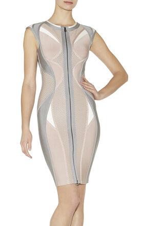 Agnese Colorblocked Puffa-Print Dress