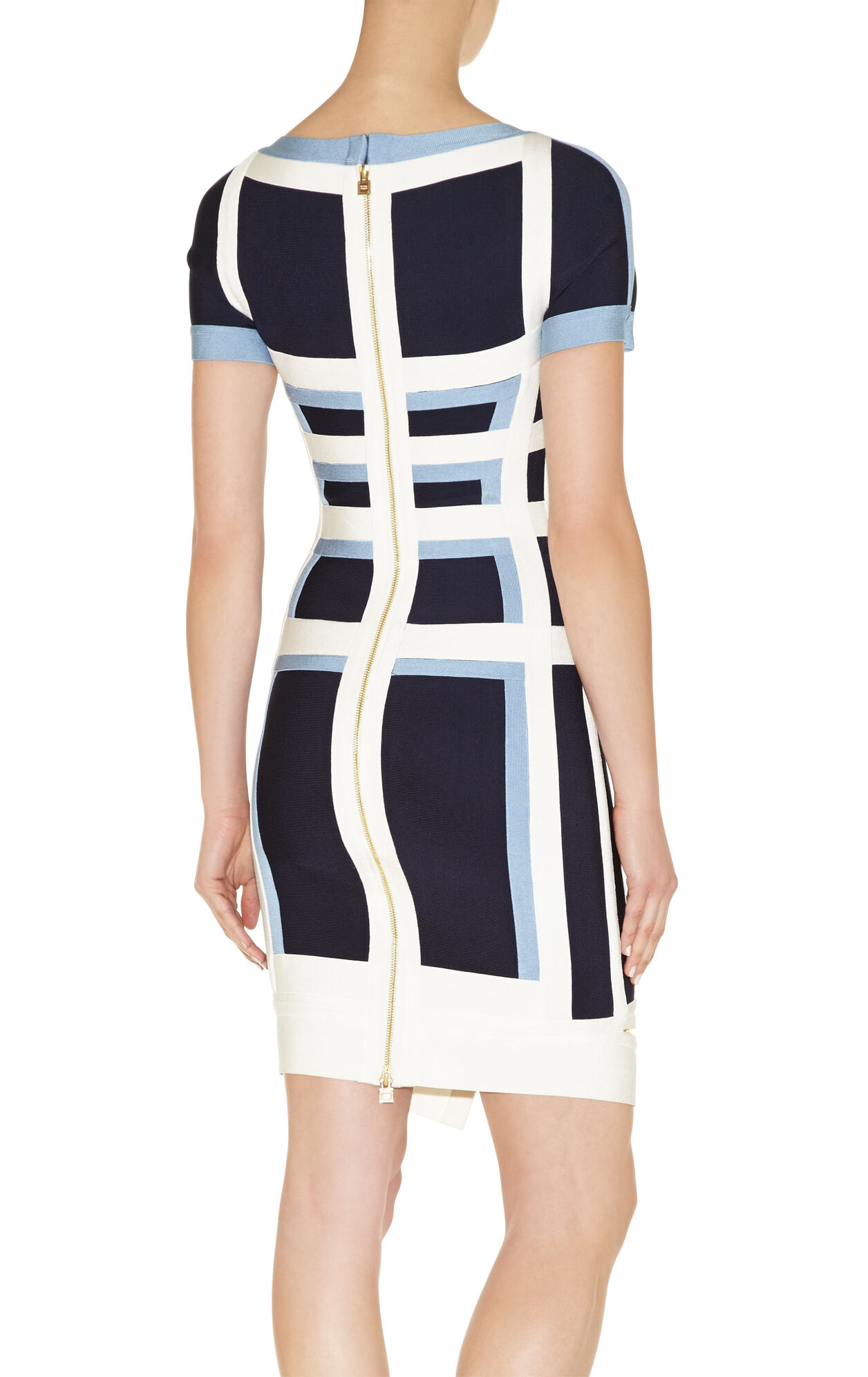 Jassalyn Colorblocked Zipper-Detailed Peplum Dress