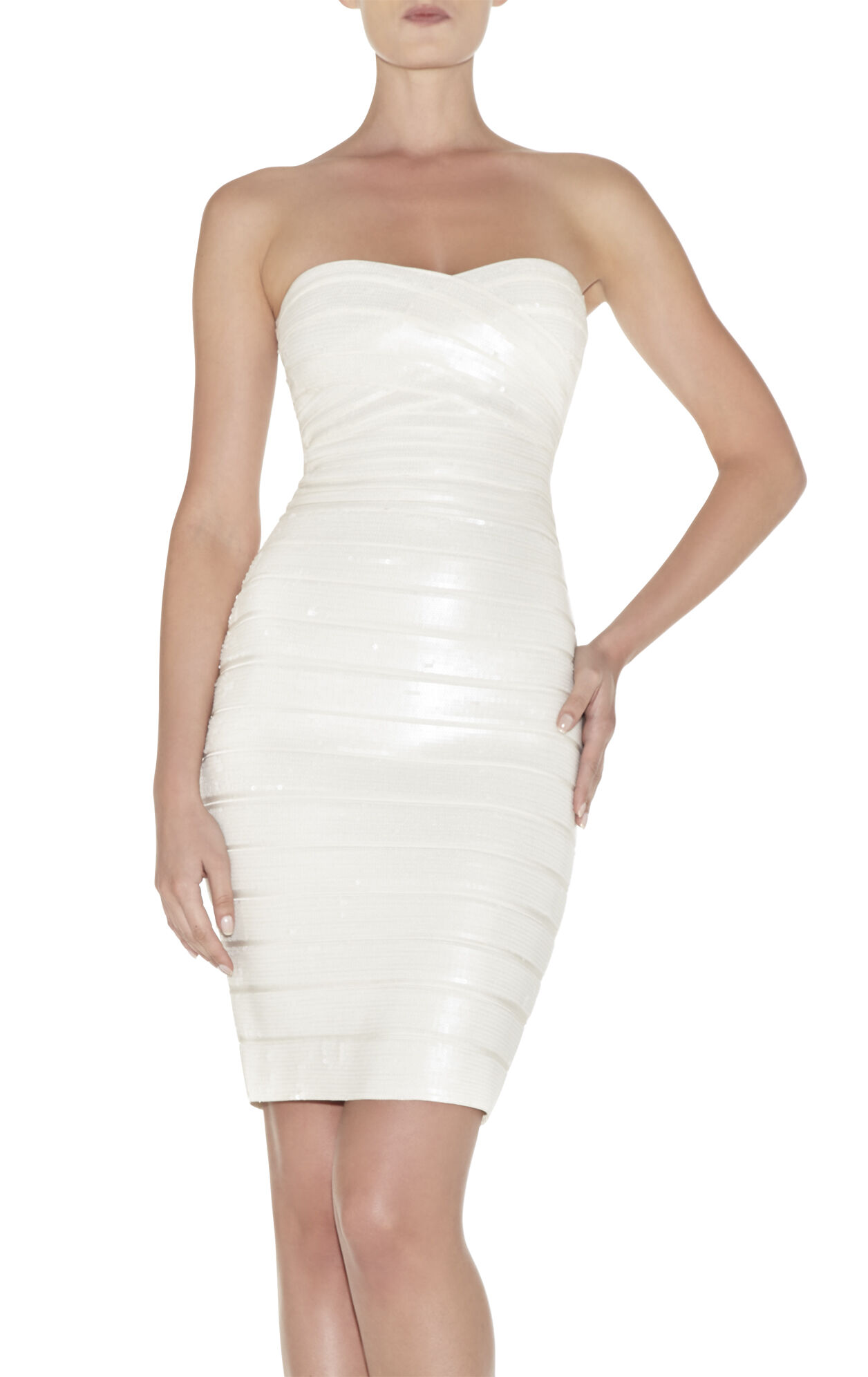 Nazik Strapless Sequined Dress