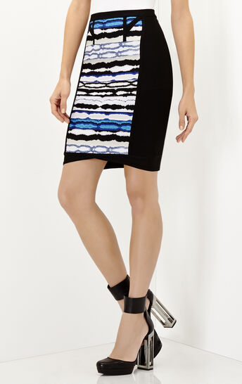 Vera Striped Ripple Jacquard Pencil Skirt