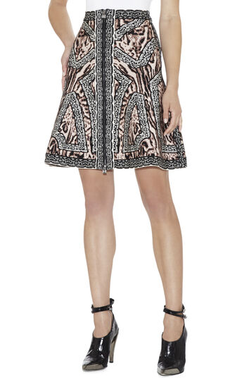 Veda Ocelot and Antique-Lace Jacquard Skirt