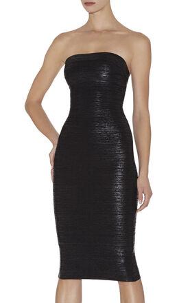 Sianna Woodgrain Foil-Print Strapless Dress