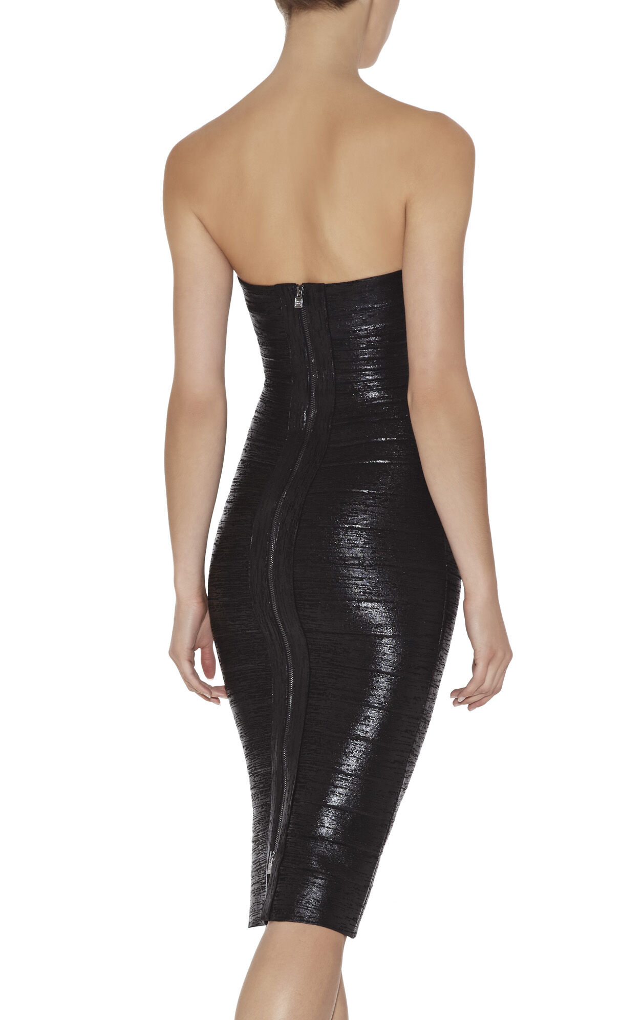 Sianna Woodgrain Foil-Print Strapless Dress