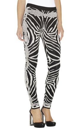 Zoey Chain Detail Zebra Jacquard Pant