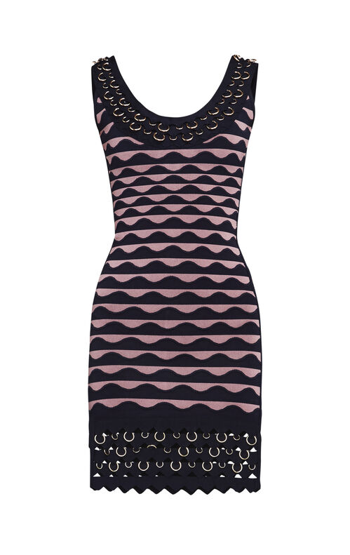 Klara Pierced Scallop Jacquard Bandage Dress