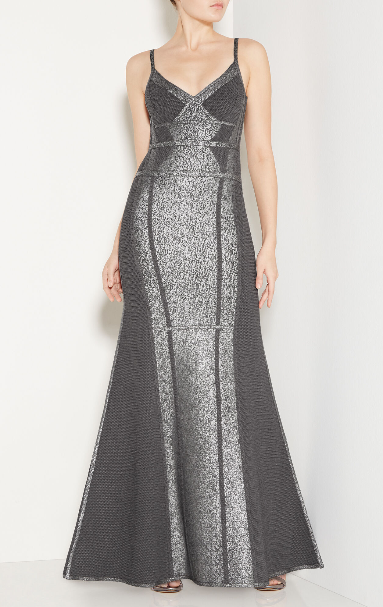 Zelina Crackled Metallic Mermaid Dress