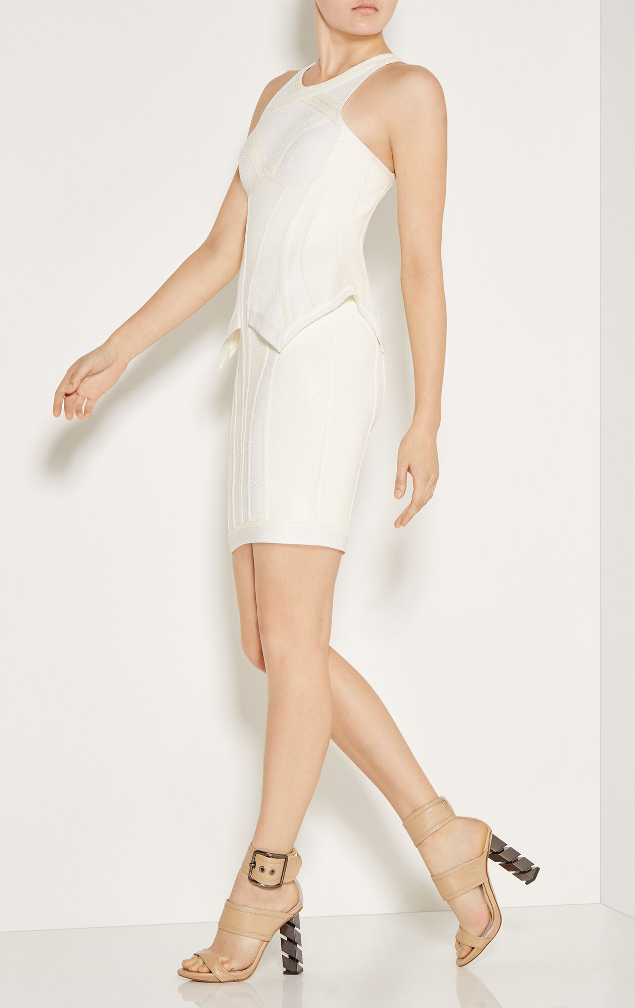Marlena Crackled Metallic Peplum Dress