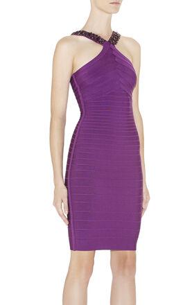 Kamerra Beaded-Neck Dress