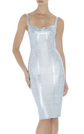 Judith Woodgrain Foil-Print Dress