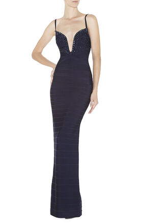 Emilia Beaded Wire-Neckline Dress