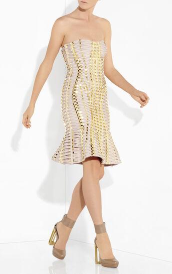 Sabra Lace-Up Beaded Bandage Dress