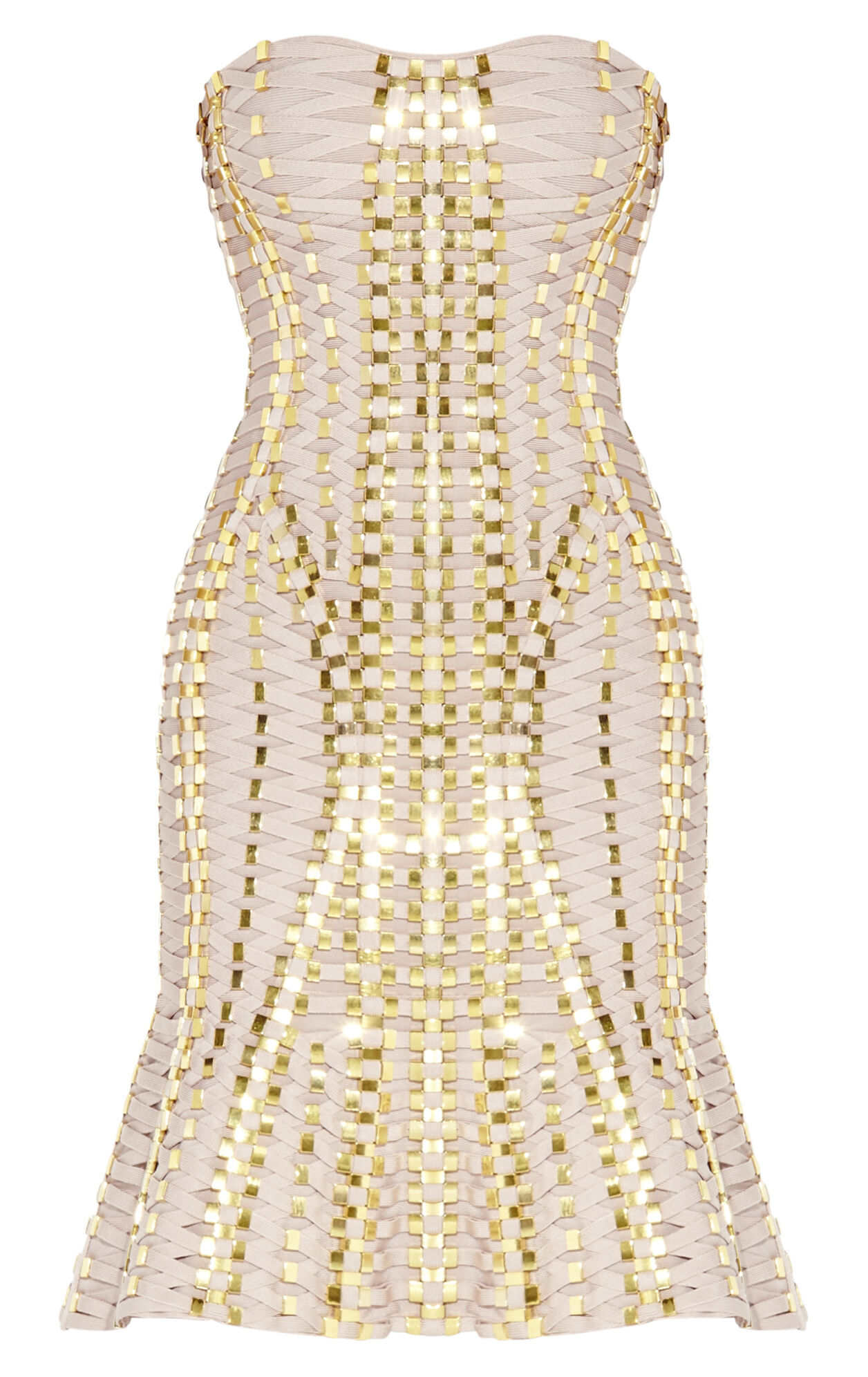 Sabra Lace-Up Beaded Bandage Dress